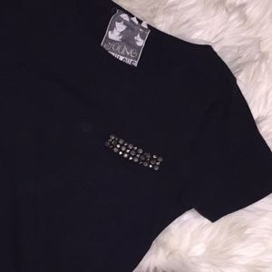 Young Fabulous & Broke Black Studded T-shirt Dress
